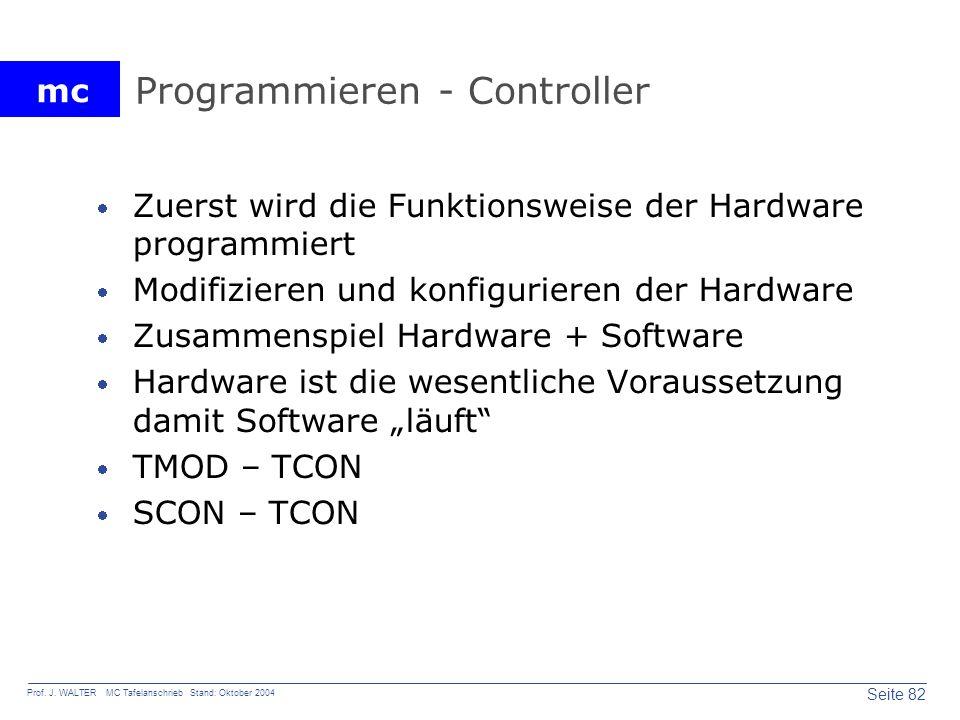 mc Seite 82 Prof. J. WALTER MC Tafelanschrieb Stand: Oktober 2004 Programmieren - Controller Zuerst wird die Funktionsweise der Hardware programmiert
