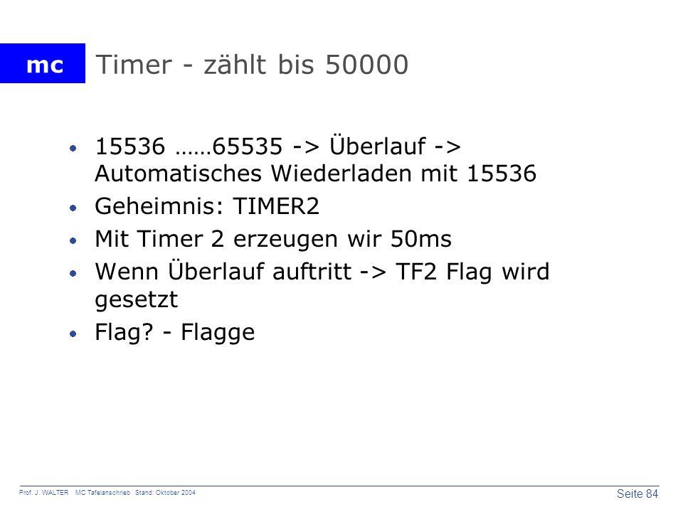 mc Seite 84 Prof. J. WALTER MC Tafelanschrieb Stand: Oktober 2004 Timer - zählt bis 50000 15536 ……65535 -> Überlauf -> Automatisches Wiederladen mit 1