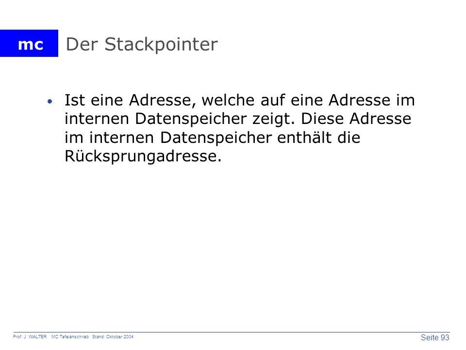mc Seite 93 Prof. J. WALTER MC Tafelanschrieb Stand: Oktober 2004 Der Stackpointer Ist eine Adresse, welche auf eine Adresse im internen Datenspeicher