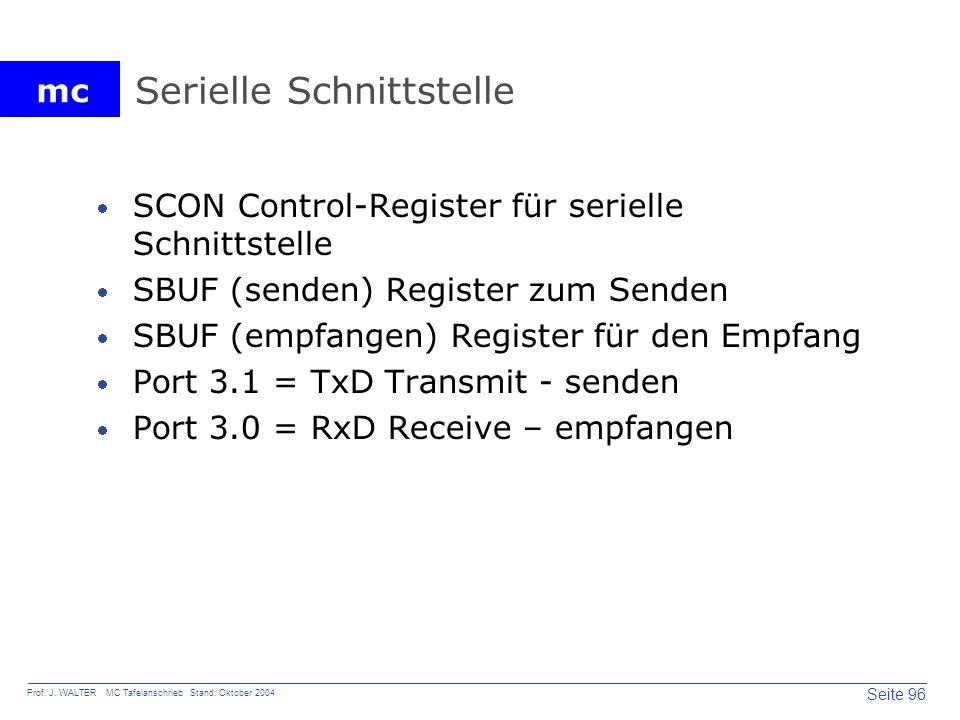 mc Seite 96 Prof. J. WALTER MC Tafelanschrieb Stand: Oktober 2004 Serielle Schnittstelle SCON Control-Register für serielle Schnittstelle SBUF (senden