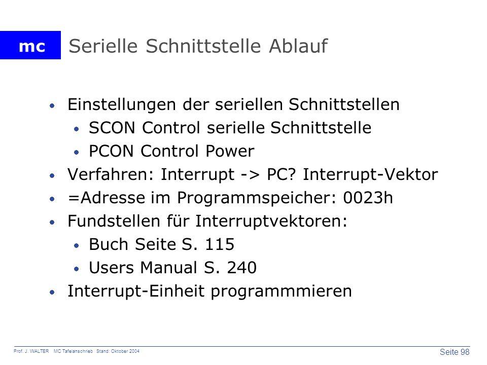 mc Seite 98 Prof. J. WALTER MC Tafelanschrieb Stand: Oktober 2004 Serielle Schnittstelle Ablauf Einstellungen der seriellen Schnittstellen SCON Contro