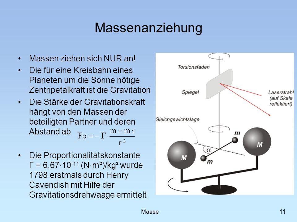 Massenanziehung Massen ziehen sich NUR an! Die für eine Kreisbahn eines Planeten um die Sonne nötige Zentripetalkraft ist die Gravitation Die Stärke d