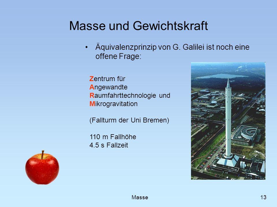 Masse und Gewichtskraft Äquivalenzprinzip von G. Galilei ist noch eine offene Frage: 13 Masse Zentrum für Angewandte Raumfahrttechnologie und Mikrogra