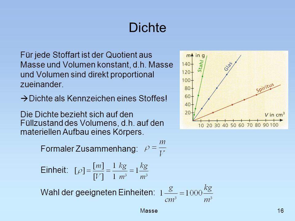Dichte Für jede Stoffart ist der Quotient aus Masse und Volumen konstant, d.h. Masse und Volumen sind direkt proportional zueinander. Dichte als Kennz