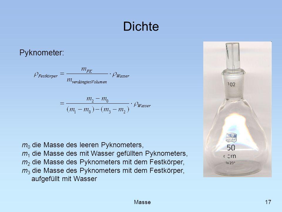 Dichte Pyknometer: 17 Masse m 0 die Masse des leeren Pyknometers, m 1 die Masse des mit Wasser gefüllten Pyknometers, m 2 die Masse des Pyknometers mi