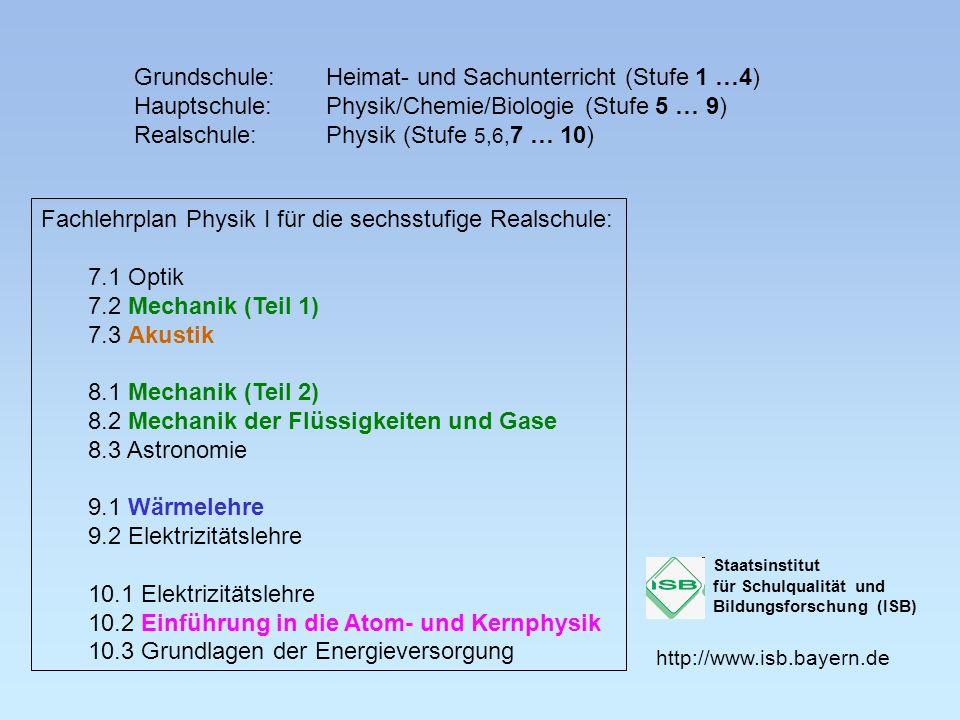 Grundschule:Heimat- und Sachunterricht (Stufe 1 …4) Hauptschule:Physik/Chemie/Biologie (Stufe 5 … 9) Realschule:Physik (Stufe 5,6, 7 … 10) Fachlehrpla