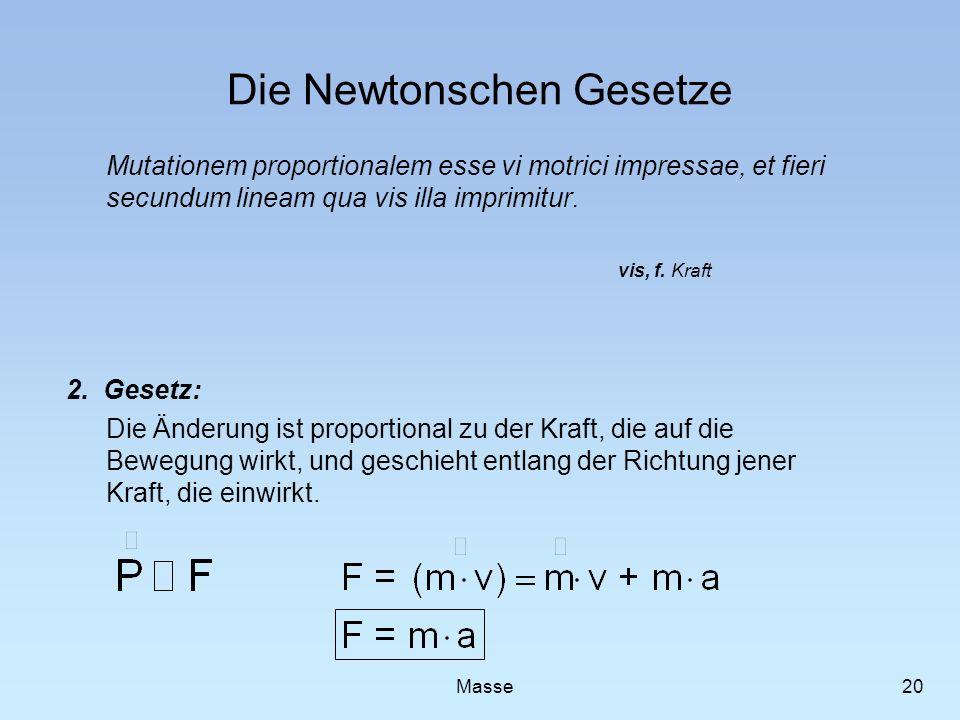 Die Newtonschen Gesetze Mutationem proportionalem esse vi motrici impressae, et fieri secundum lineam qua vis illa imprimitur. 2. Gesetz: Die Änderung