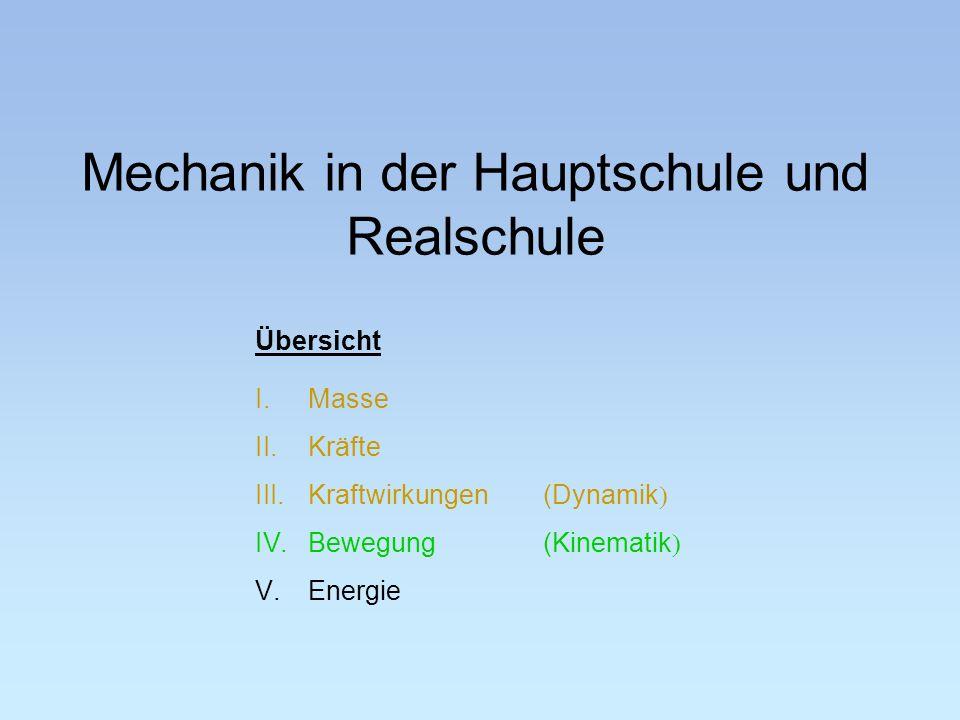 Übersicht I.Masse II.Kräfte III.Kraftwirkungen(Dynamik IV.Bewegung(Kinematik V.Energie Mechanik in der Hauptschule und Realschule