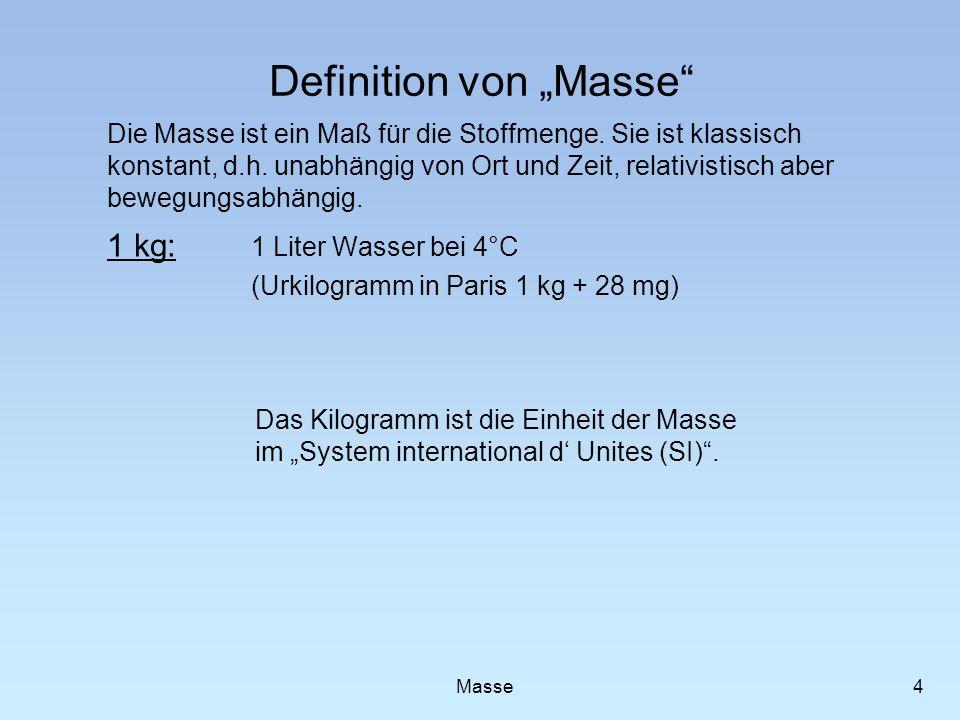Definition von Masse Die Masse ist ein Maß für die Stoffmenge. Sie ist klassisch konstant, d.h. unabhängig von Ort und Zeit, relativistisch aber beweg