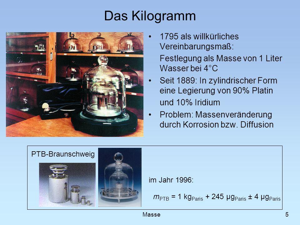 Das Kilogramm 1795 als willkürliches Vereinbarungsmaß: Festlegung als Masse von 1 Liter Wasser bei 4°C Seit 1889: In zylindrischer Form eine Legierung