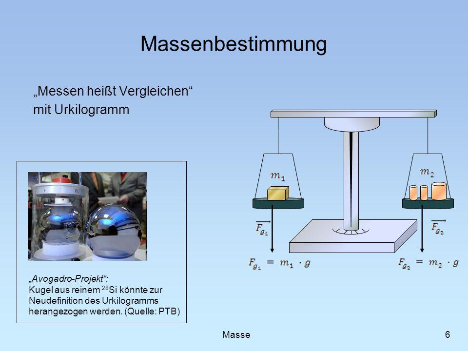 Massenbestimmung Messen heißt Vergleichen mit Urkilogramm 6 Masse Avogadro-Projekt: Kugel aus reinem 28 Si könnte zur Neudefinition des Urkilogramms h