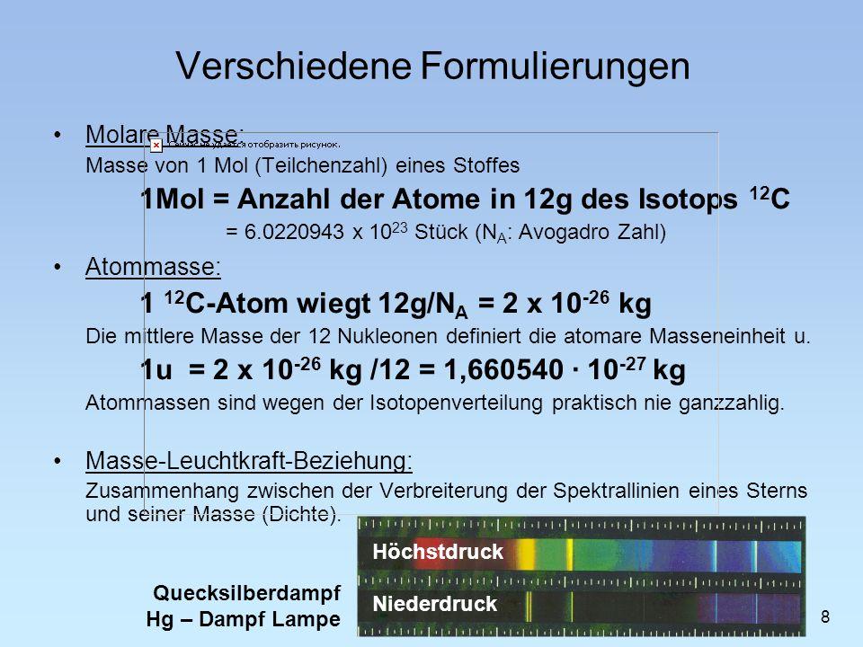 Verschiedene Formulierungen Molare Masse: Masse von 1 Mol (Teilchenzahl) eines Stoffes 1Mol = Anzahl der Atome in 12g des Isotops 12 C = 6.0220943 x 1