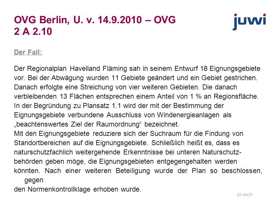 23 von 31 OVG Berlin, U. v. 14.9.2010 – OVG 2 A 2.10 Der Fall: Der Regionalplan Havelland Fläming sah in seinem Entwurf 18 Eignungsgebiete vor. Bei de