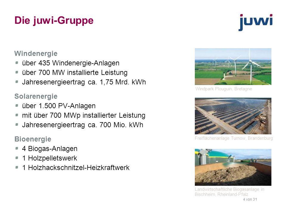 4 von 31 Die juwi-Gruppe Windenergie über 435 Windenergie-Anlagen über 700 MW installierte Leistung Jahresenergieertrag ca. 1,75 Mrd. kWh Solarenergie