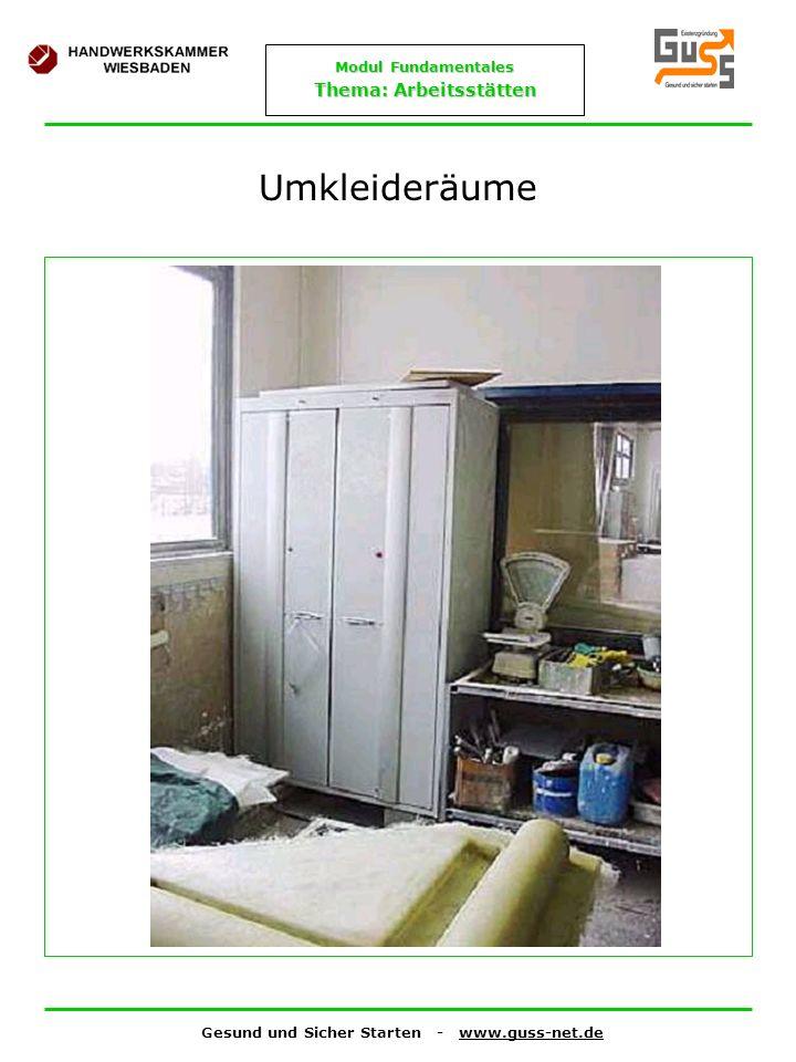 Gesund und Sicher Starten - www.guss-net.de Modul Fundamentales Thema: Arbeitsstätten Umkleideräume