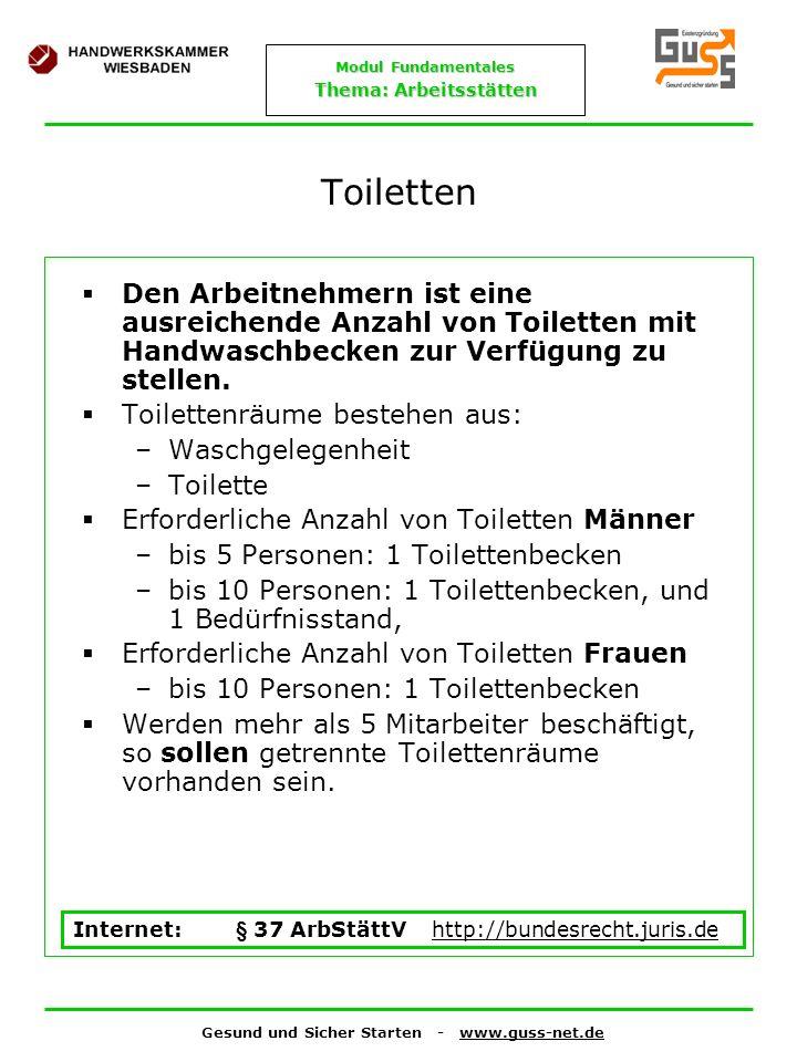 Gesund und Sicher Starten - www.guss-net.de Modul Fundamentales Thema: Arbeitsstätten Toiletten Den Arbeitnehmern ist eine ausreichende Anzahl von Toi