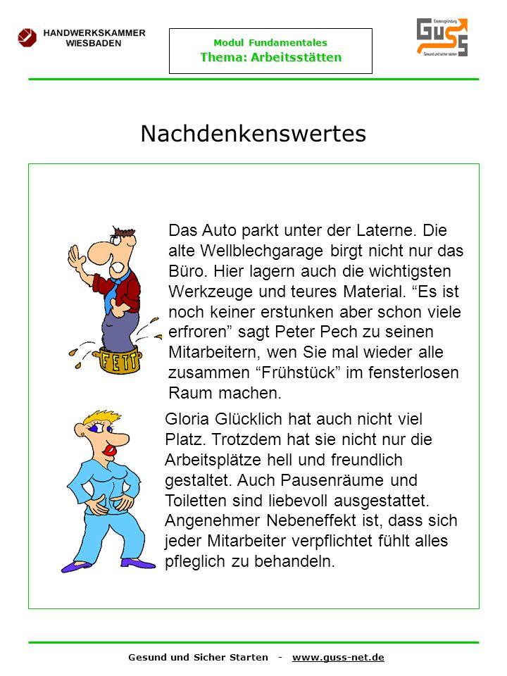 Gesund und Sicher Starten - www.guss-net.de Modul Fundamentales Thema: Arbeitsstätten Nachdenkenswertes Das Auto parkt unter der Laterne. Die alte Wel