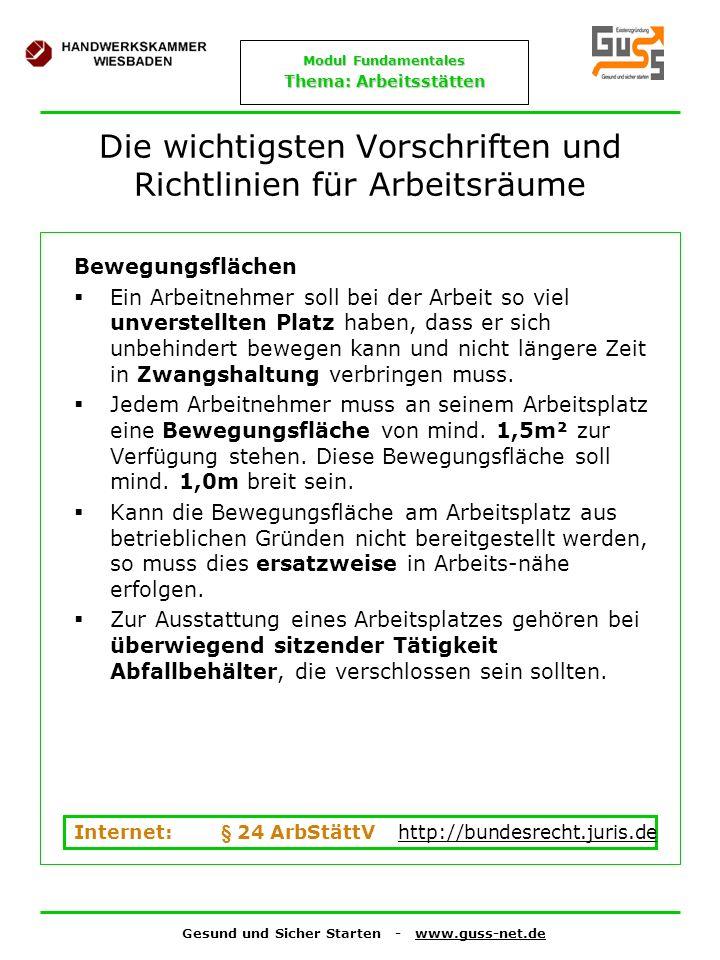 Gesund und Sicher Starten - www.guss-net.de Modul Fundamentales Thema: Arbeitsstätten Die wichtigsten Vorschriften und Richtlinien für Arbeitsräume Be