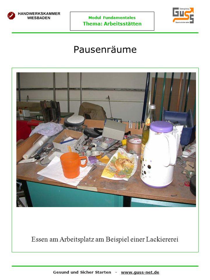 Gesund und Sicher Starten - www.guss-net.de Modul Fundamentales Thema: Arbeitsstätten Pausenräume Essen am Arbeitsplatz am Beispiel einer Lackiererei