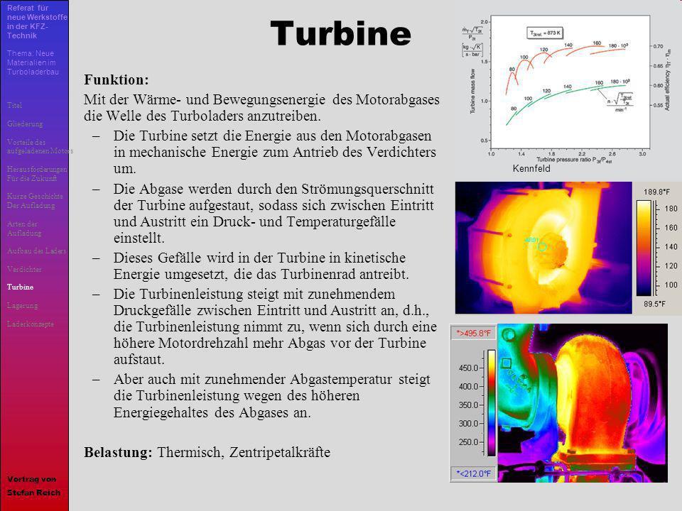 13 Turbine Funktion: Mit der Wärme- und Bewegungsenergie des Motorabgases die Welle des Turboladers anzutreiben. –Die Turbine setzt die Energie aus de