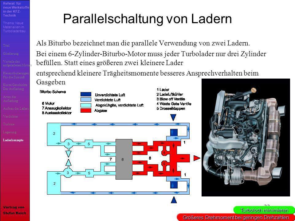 22 Parallelschaltung von Ladern Als Biturbo bezeichnet man die parallele Verwendung von zwei Ladern. Bei einem 6-Zylinder-Biturbo-Motor muss jeder Tur
