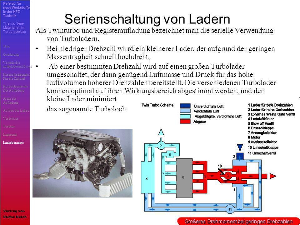 23 Serienschaltung von Ladern Als Twinturbo und Registeraufladung bezeichnet man die serielle Verwendung von Turboladern. Bei niedriger Drehzahl wirrd