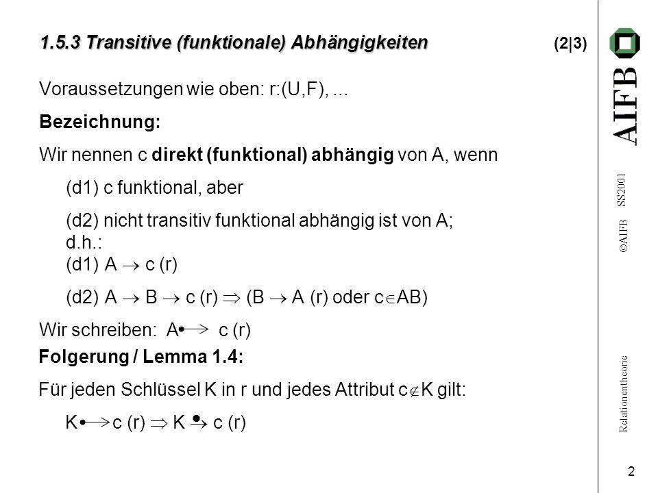 Relationentheorie AIFB SS2001 2 1.5.3 Transitive (funktionale) Abhängigkeiten 1.5.3 Transitive (funktionale) Abhängigkeiten (2|3) Voraussetzungen wie oben: r:(U,F),...