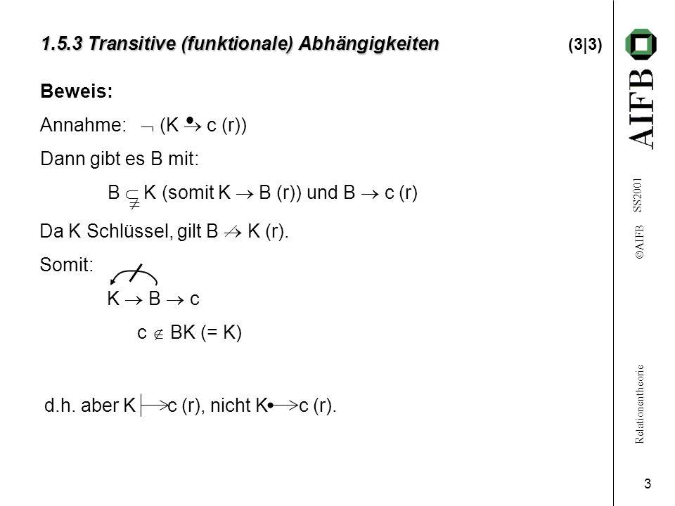 Relationentheorie AIFB SS2001 3 1.5.3 Transitive (funktionale) Abhängigkeiten 1.5.3 Transitive (funktionale) Abhängigkeiten (3|3) Beweis: Annahme: (K c (r)) Dann gibt es B mit: B K (somit K B (r)) und B c (r) Da K Schlüssel, gilt B K (r).