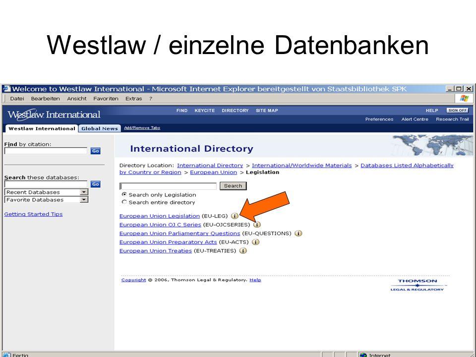 Westlaw / Information zur Einzeldatenbank