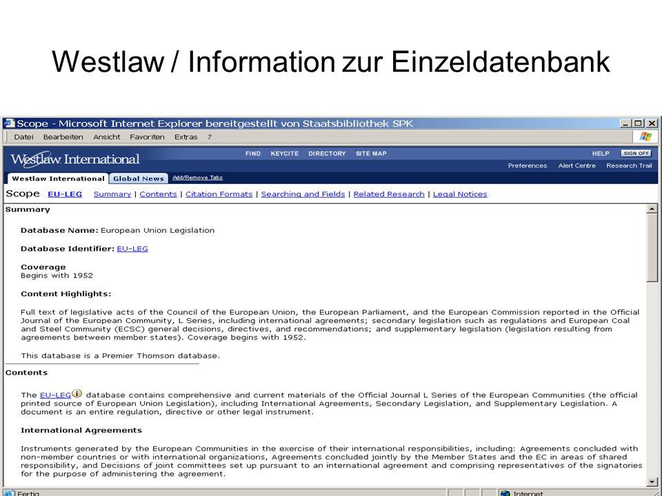 Westlaw / Suchmaske Einzeldatenbank Eingabefeld Operatoren