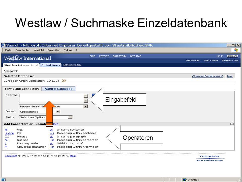 Westlaw / Suchmaske Einzeldatenbank Zeitliche Eingrenzung