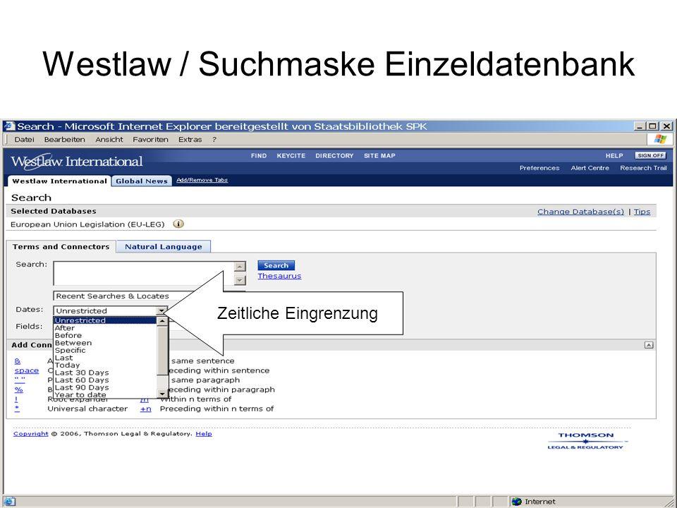 Westlaw / Suchmaske Einzeldatenbank Suchoptionen