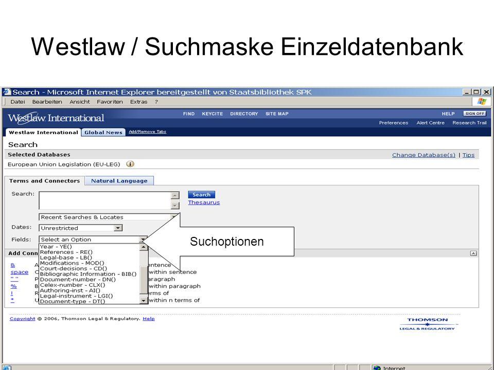 Westlaw / Suchanfrage Richtlinie