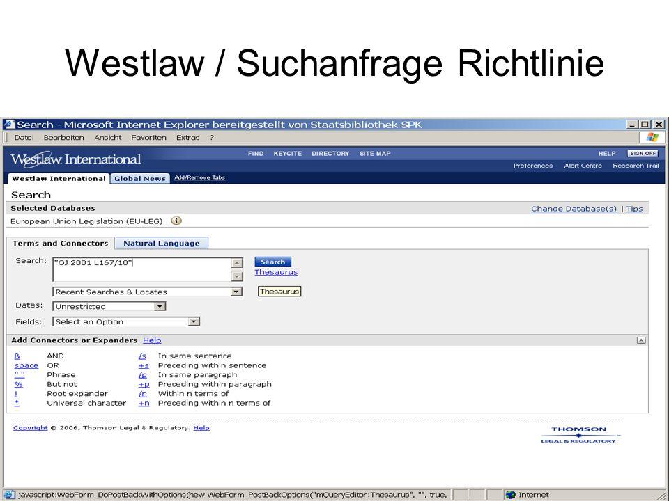 Westlaw / Ergebnis Richtlinie Anzeige als PDF Export und Druck