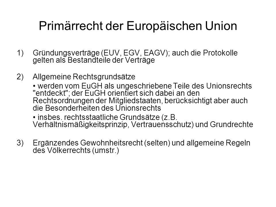 Sekundärrecht der Europäischen Union Definition: das von den Organen der Europäischen Gemeinschaften auf der Grundlage des Primärrechts erlassene Recht keine Rechtsquellen: die Beschlüsse im Rahmen der GASP; diese Beschlüsse sind zwar bindend, begründen aber keine Rechtsnormen