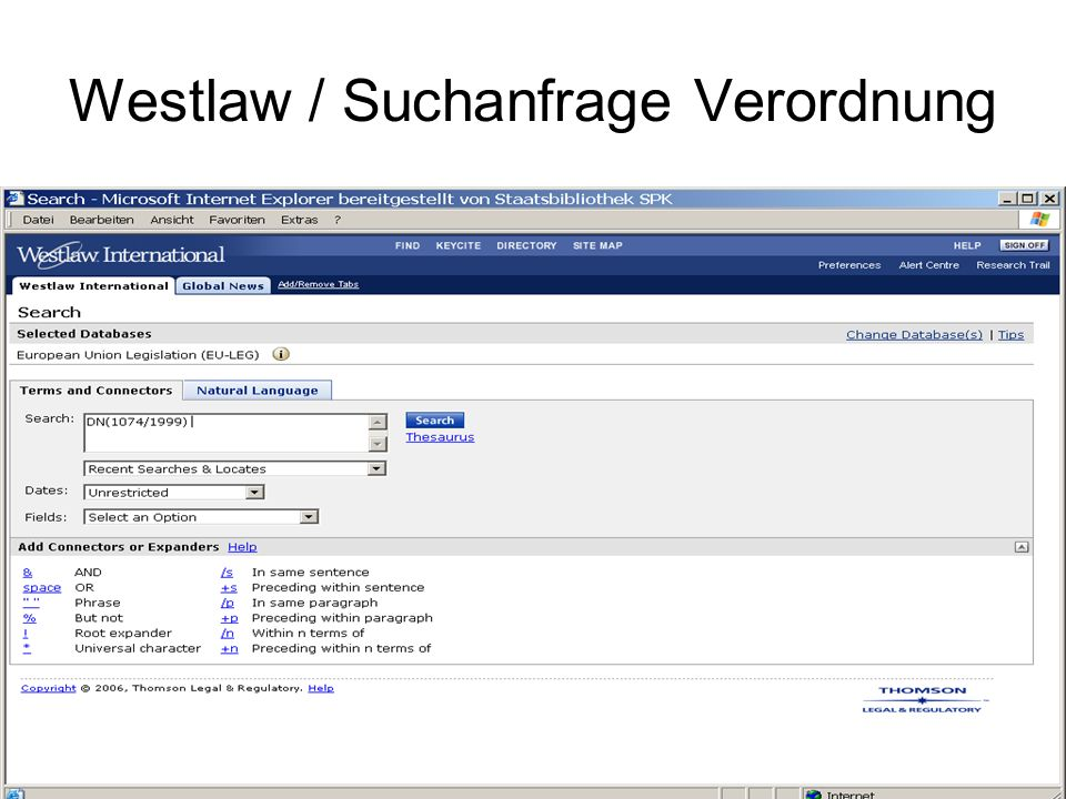 Westlaw / Ergebnis Verordnung Ergebnisbezogene Zusatzinfo