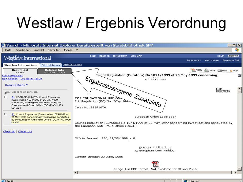 Westlaw / Suche Gerichtsentscheidung