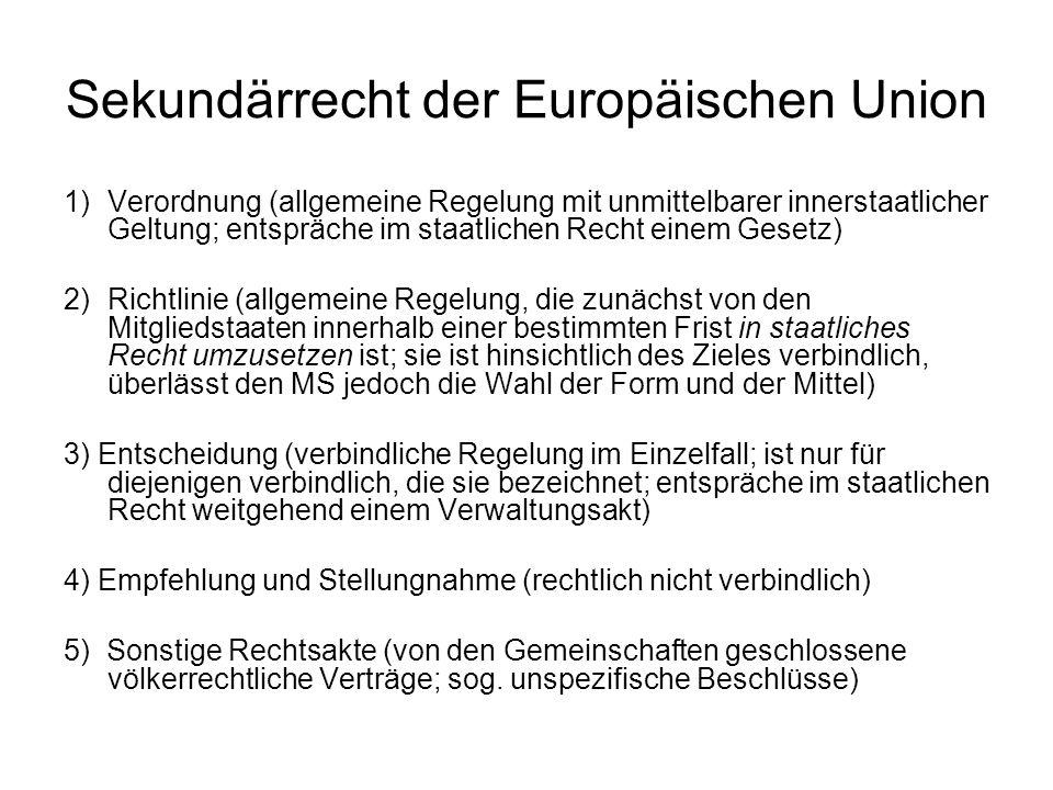 Veröffentlichung der Akte der EU Veröffentlichung im Amtsblatt der EU Das Amtsblatt gliedert sich in folgende Teile: –Teil L: legislatio = Verordnungen, Richtlinien etc.