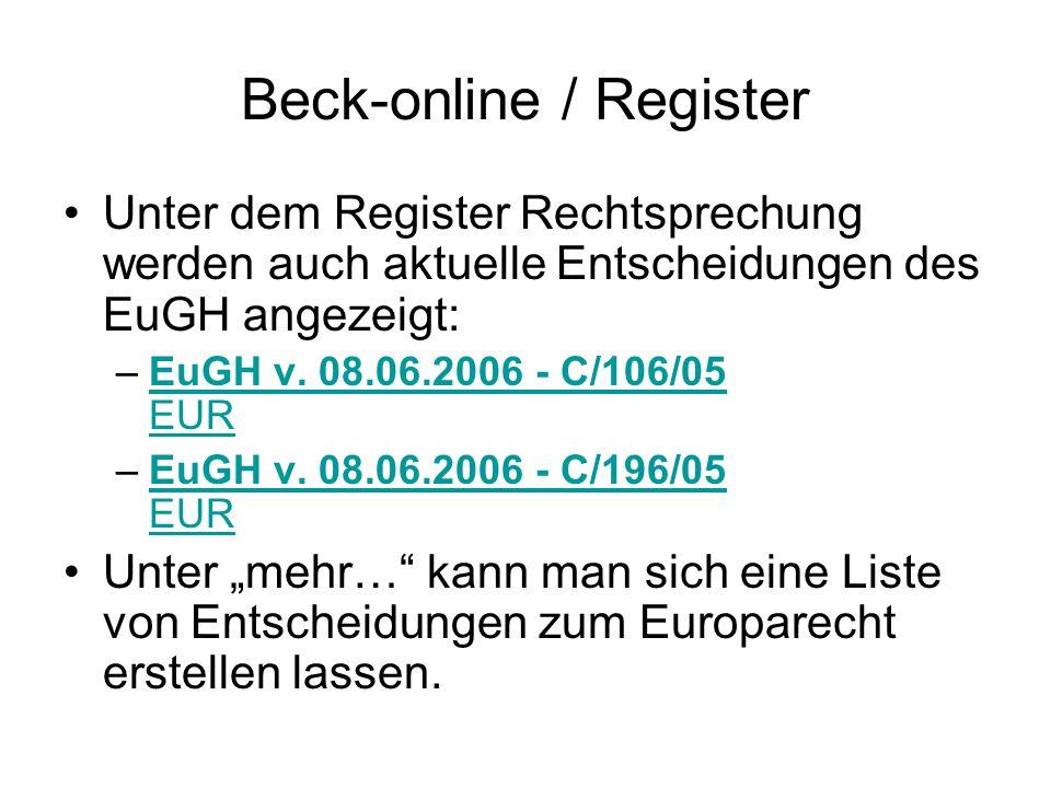 Beck-online / Register