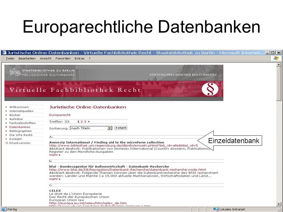 ViFa Recht / Bibliographien Fachliches Browsing