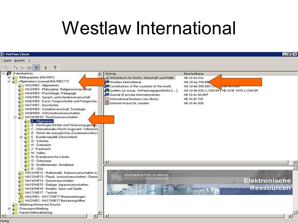 Westlaw / Allgemein derzeit etwa 2.687 Einzelonlineprodukte über 15.000 Datenbanken bietet einen Zugriff auf die Volltexte von Gesetzes- und Entscheidungssammlungen, Gesetzgebungsmaterialien und andere Rechtsquellen (angereichert um aktuelle und Business-informationen) besonders angloamerikanischer Rechtskreis, aber auch internationales und ausländisches Recht