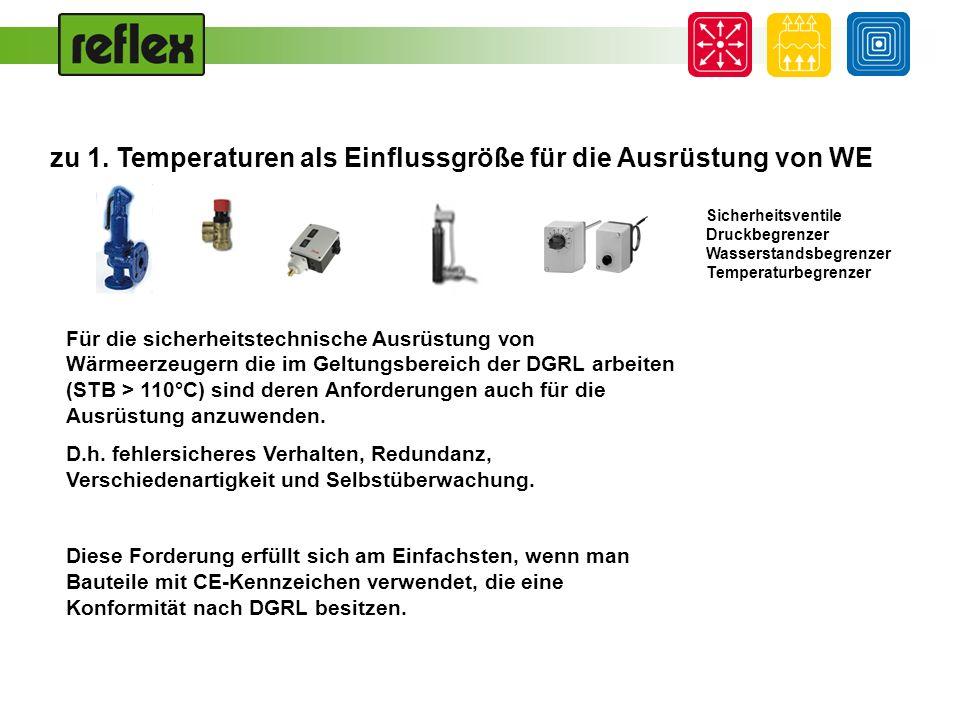 Ausrüstungsniveau [-] zu 1: Temperaturen als Einflussgröße für die Ausrüstung von WE 110 °C 100 °C 120 °C Druckgeräterichtlinie [°C] DIN EN 12953 Großwasserraumkessel DIN EN 12828 TRD