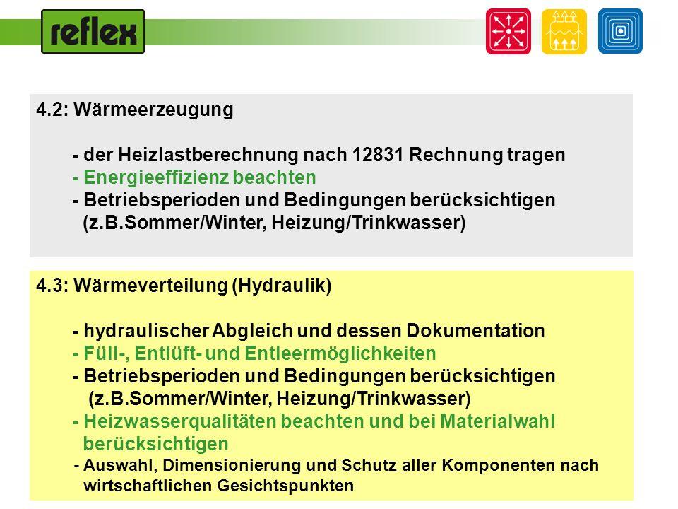 4.2: Wärmeerzeugung - der Heizlastberechnung nach 12831 Rechnung tragen - Energieeffizienz beachten - Betriebsperioden und Bedingungen berücksichtigen
