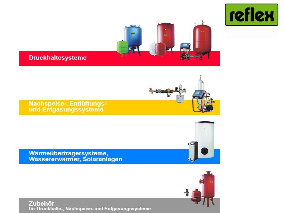 Druckhaltesysteme Nachspeise-, Entlüftungs- und Entgasungssysteme Wärmeübertragersysteme, Wassererwärmer, Solaranlagen Zubehör für Druckhalte-, Nachsp
