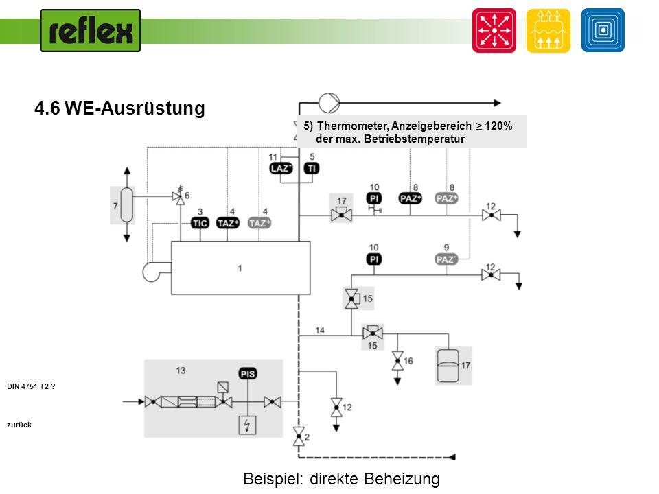 Beispiel: direkte Beheizung zurück 6) Sicherheitsventil, Bemessung für Dampfausströmung, prEn ISO 4126, z.