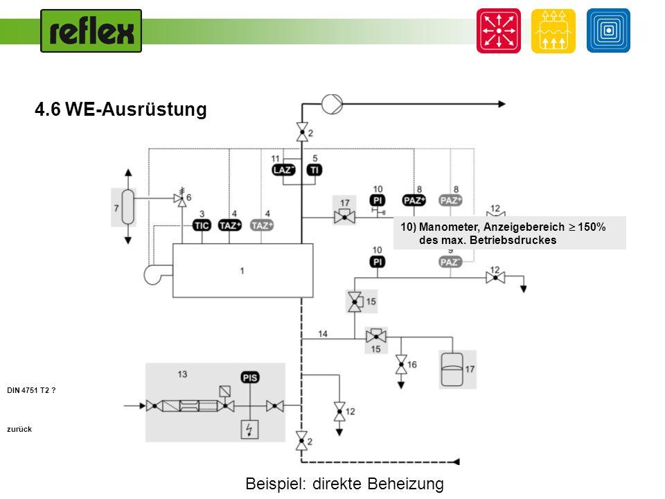 Beispiel: direkte Beheizung zurück 10) Manometer, Anzeigebereich 150% des max. Betriebsdruckes DIN 4751 T2 ? 4.6 WE-Ausrüstung
