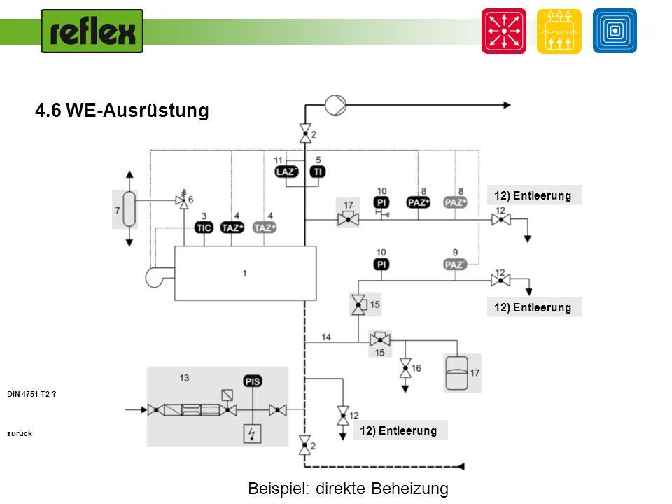 Beispiel: direkte Beheizung zurück 13) Füll- und Nachspeiseeinrichtung zur Sicherung des erforderlichen Mindestbetriebsdrucks, mit Wasser- zähler, Systemtrenner nach prEN 806-4 DIN 4751 T2 .