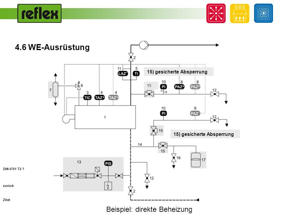 Beispiel: direkte Beheizung zurück 16) Entleerung zwischen Druckhaltung und gesicherter Absperrung (Wartung) DIN 4751 T2 .