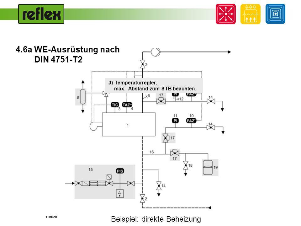 Beispiel: direkte Beheizung... 3) Temperaturregler, max. Abstand zum STB beachten. zurück 4.6a WE-Ausrüstung nach DIN 4751-T2