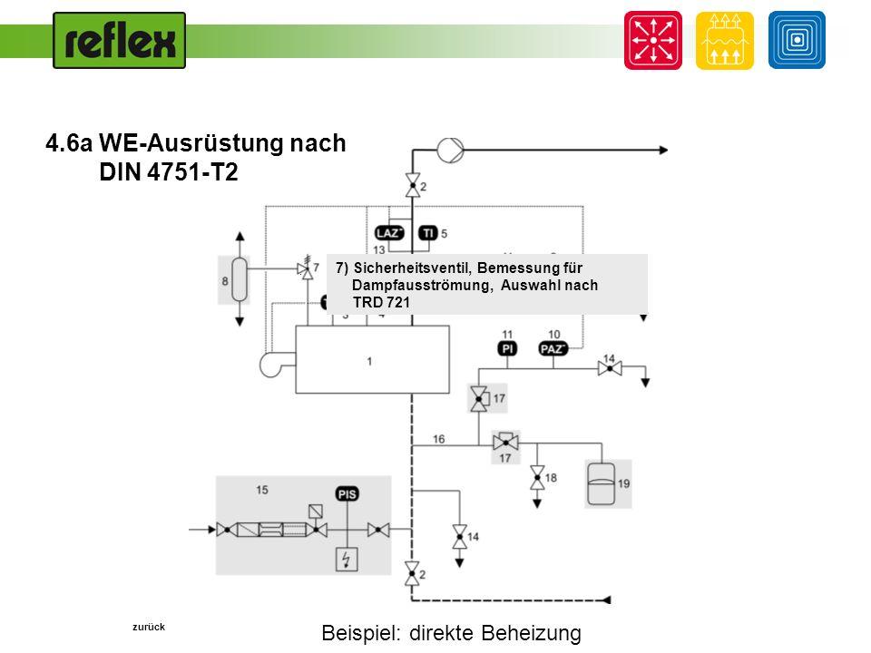 Beispiel: direkte Beheizung... 7) Sicherheitsventil, Bemessung für Dampfausströmung, Auswahl nach TRD 721 zurück 4.6a WE-Ausrüstung nach DIN 4751-T2